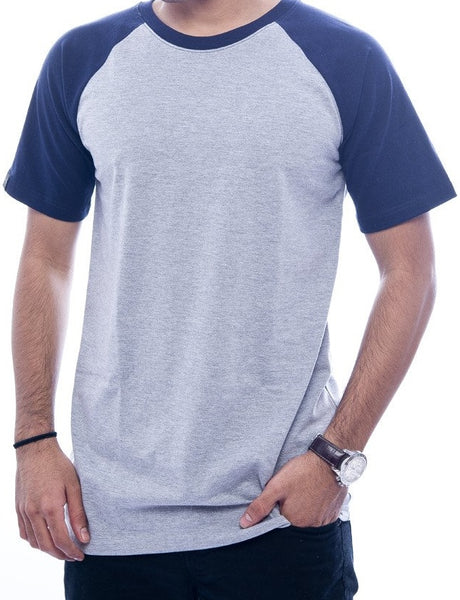 Light Grey & Navy Raglan Sleeve T-Shirt