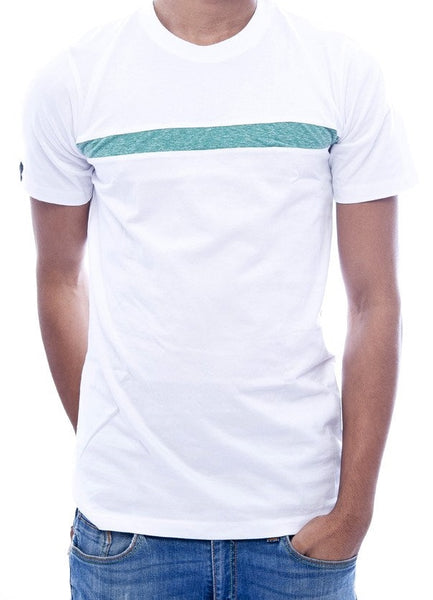 White with Green Stripe Fitted T-Shirt