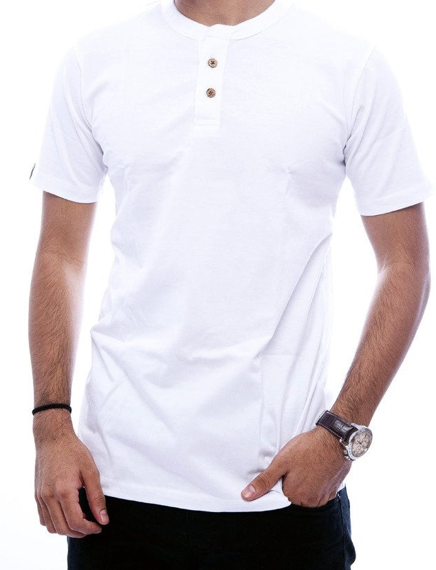 White 2 button Henley