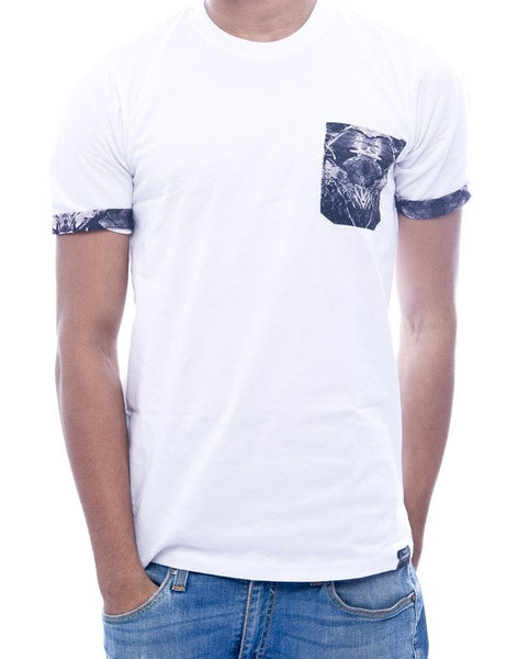 White with Green Abstract Pocket & Sleeve Turn-Up Fitted T-Shirt