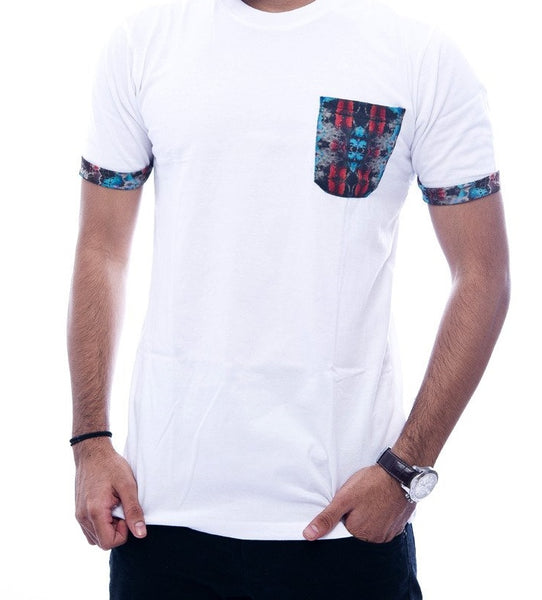 White with Multi-Colour Abstract Pocket & Sleeve Turn-Up Fitted T-Shirt