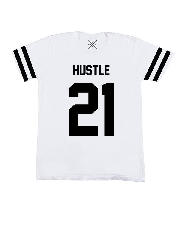 Hustle 21 White Fitted T-Shirt