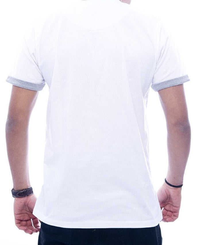 White with Light Grey Contrast Pocket & Sleeve Turn-Up Fitted T-Shirt