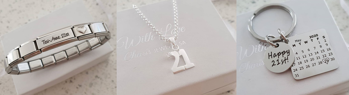 21st birthday jewelry gifts, bracelets, necklaces and keyrings