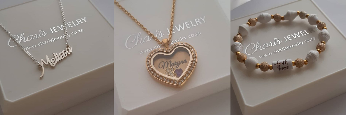 Personalized necklaces and lockets from Charis Jewelry SA online jewelry store South Africa