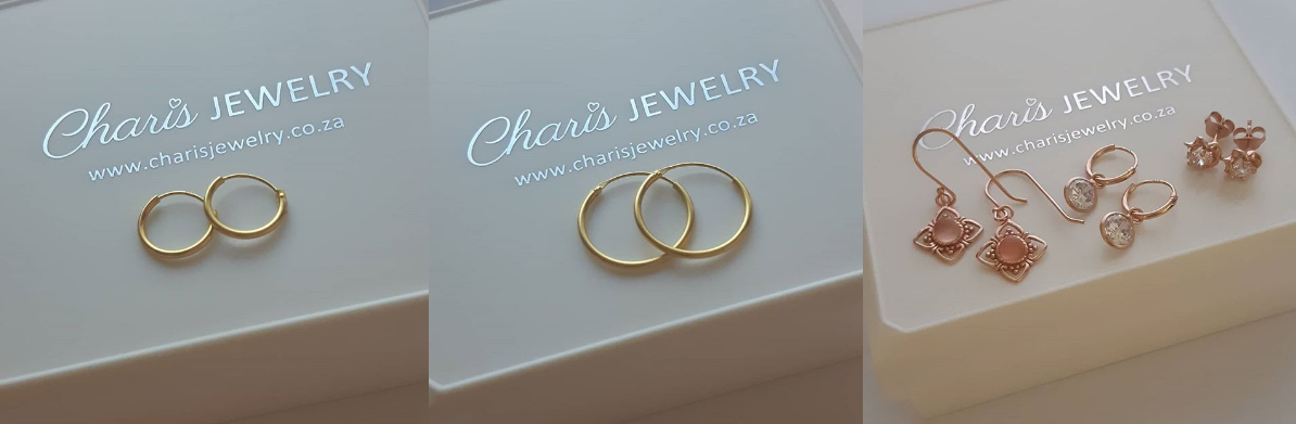 Charis Jewelry SA online jewelry store, silver gold and rose gold earrings