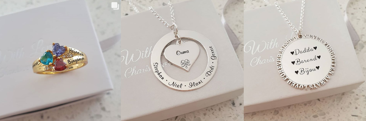 Charis Jewelry SA personalized rings and necklaces