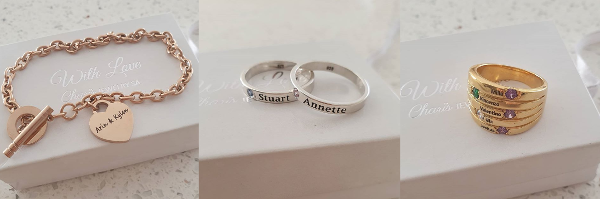 Charis Jewelry SA personalized bracelets and rings