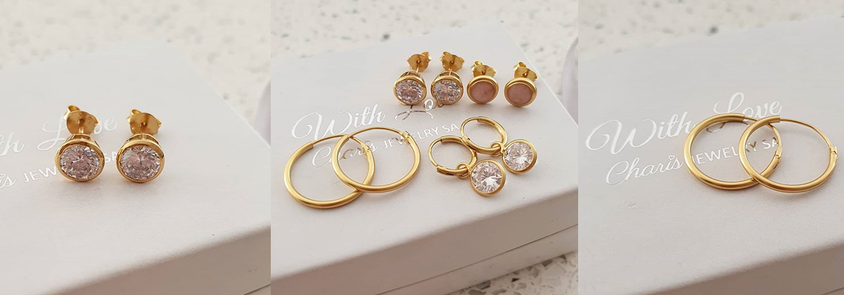 Gold earrings, online jewellery shop in South Africa