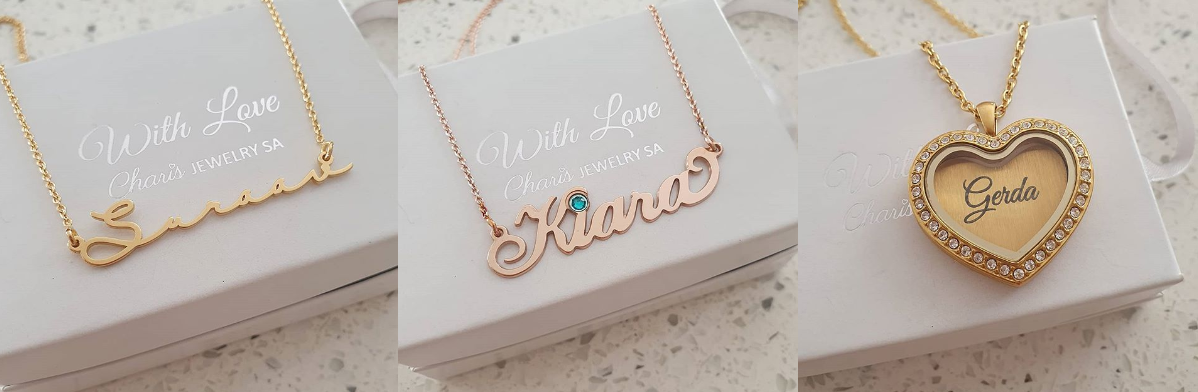 Personalized name necklaces and floating lockets online shop Charis Jewelry SA