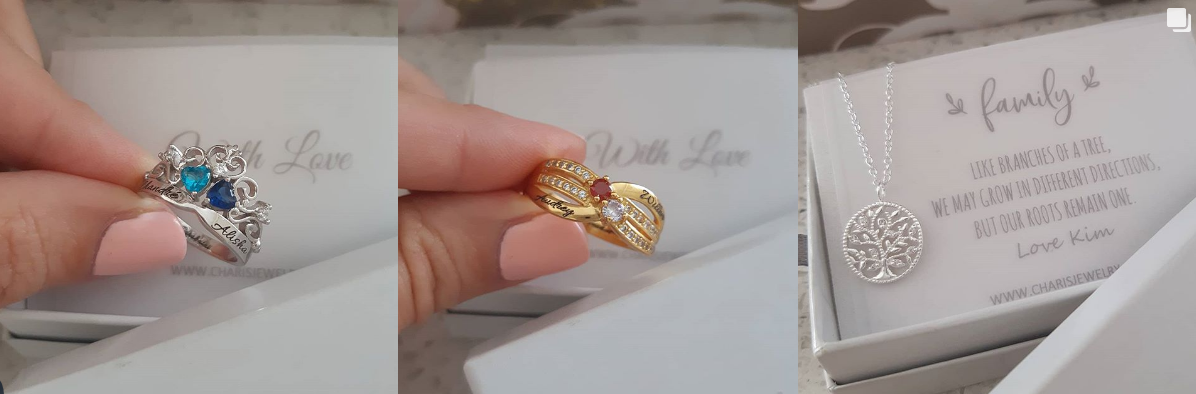 Personalized rings and jewelry gifts from Charis Jewelry SA Online Shop