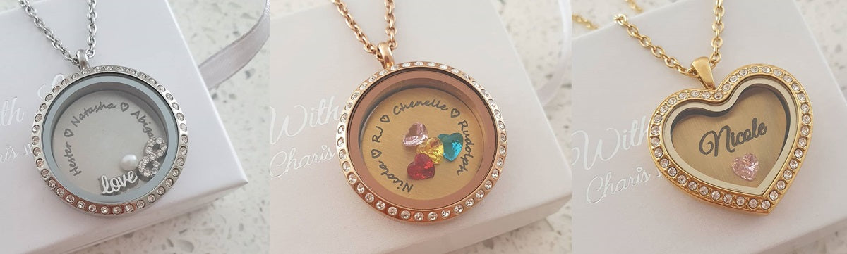 Personalized Floating Locket Necklaces Banner