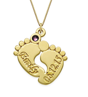 N169 - Personalized Baby Feet Necklace in 14K Gold