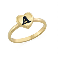 N469 - 18K Gold Plated over Sterling Silver Heart Initial Stacking Ring
