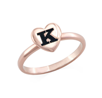 N470 - 18K Rose Gold Plated over Sterling Silver Heart Initial Stacking Ring