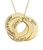 N178 - Russian Ring Necklace with Engraving in 10K Yellow Gold