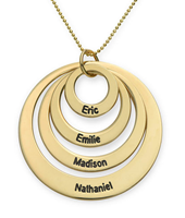 N194 - Four Open Circles Necklace with Engraving in 10K Yellow Gold