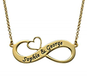 N477 - Engraved 18K Gold Plated Infinity Necklace with Cut Out Heart