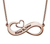 N478 - Engraved 18K Rose Gold Plated Infinity Necklace with Cut Out Heart