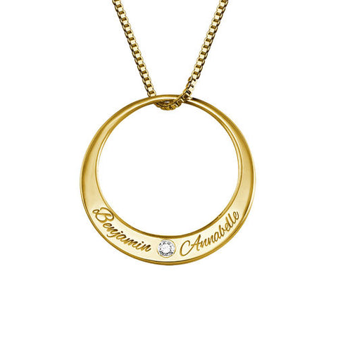 N494 - Circle 18K Gold Plated over Sterling Silver Necklace with Diamond
