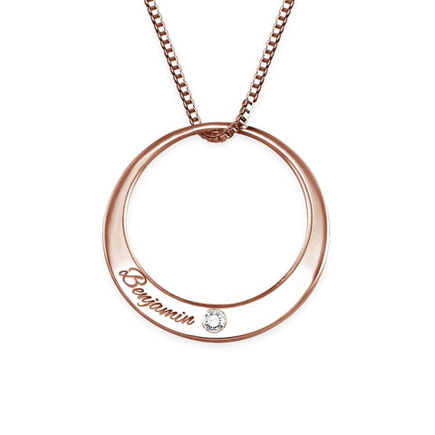 N495 - Circle 18K Rose Gold Plated over Sterling Silver Necklace with Diamond
