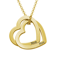 N216 - Interlocking Hearts Necklace with 18K Gold Plating