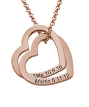 N218 - Interlocking Hearts Necklace with 18K Rose Gold Plating