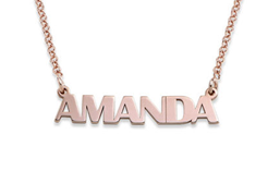 N222 - Capital Letters Name Necklace with 18K Rose Gold Plating