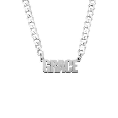 N602 - Thick Chain Name Necklace in Sterling Silver