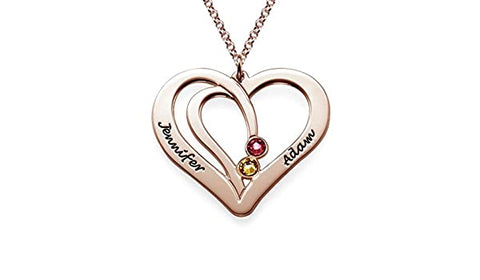 N492 - Engraved Couple Birthstone Necklace - 18K Rose Gold Plated Silver