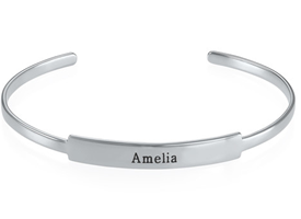 N484 - Open Name Bangle Bracelet in Silver