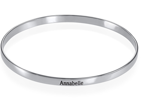 N487 - Engraved Bangle Bracelet in Sterling Silver