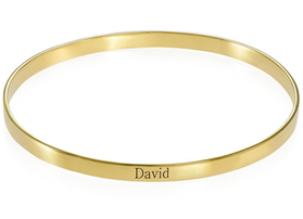 N488 - 18k Gold-Plated Engraved Bangle Bracelet