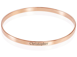 N489 - 18k Rose Gold-Plated Engraved Bangle Bracelet