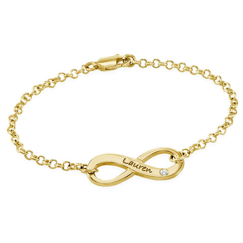 N497 - 18K Gold Plated Sterling Silver Infinity and Genuine Diamond Bracelet