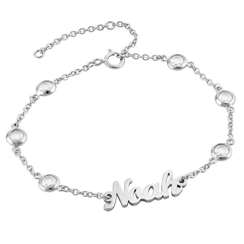 N499 - Name Bracelet with Clear Crystal Stones in Sterling Silver
