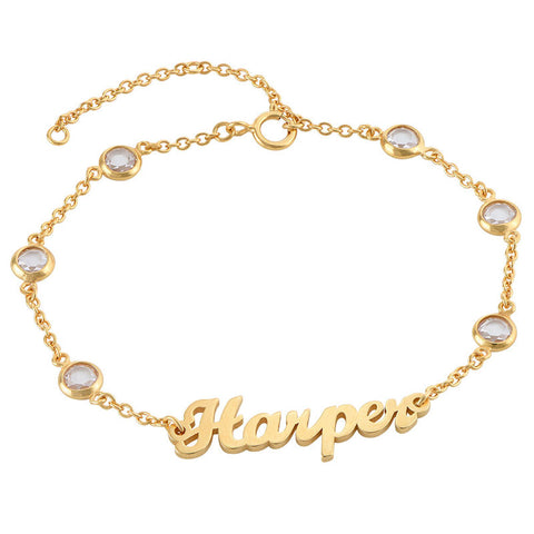 N600 - Name Bracelet with Clear Crystal Stones in 18K Gold plated Sterling Silver