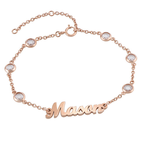 N601 - Name Bracelet with Clear Crystal Stones in 18K Rose Gold plated Sterling Silver