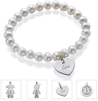 N231 - Pearl Bracelet with Sterling Silver Charm of choice