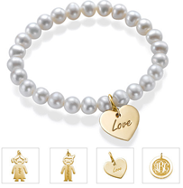 N232 - Pearl Bracelet with 18K Gold Plated Charm of choice