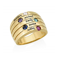 N491 - Five Stone Mothers Ring in 18K Gold Plating and Swarovski