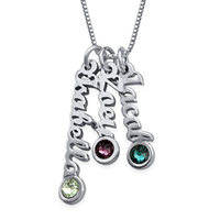 N411 - 925 Sterling Silver Personalized Tiny Vertical Name Necklace with Birthstones