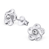 A5-C20285 - Sterling Silver Child's Flower Ear Stud Earings with Pink Crystal