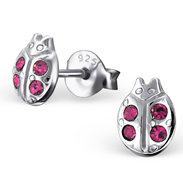 C21807 - Sterling Silver Child's Lady Bird Ear Studs with Rose Crystal