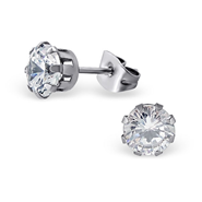 A143-C7196 - Jeweled Round Surgical Steel Ear Stud, Cubic Zirconia, 6mm
