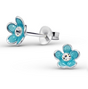 C267-C15128 - Sterling Silvers Child's Blue Flower Ear Studs with Crystal