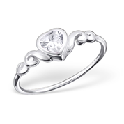 B128 - C16339 - 925 Sterling Silver Pretty Heart Ring with Cubic Zirconia (Teenager)