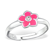 925 Sterling Silver Adjustable Children Flower Ring with Crystal