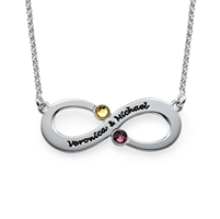 N413 - 925 Sterling Silver Personalized Couples Infinity Necklace with Birthstones