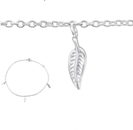 C29965 - Sterling Silver Leaf Anklet, adjustable size
